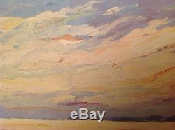Superbe Tableau ancien Marine signé ROUSTAN Huile Barques au couché du Soleil