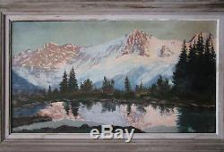Superbe ancien grand tableau lac de montagne Chamonix Mont Blanc signé Corelli