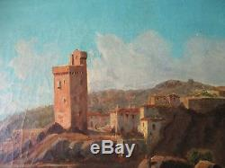 Superbe ancien tableau Villeneuve les Avignon signé 1885 Rhône marine pêcheurs