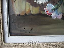 Superbe ancien tableau bouquet d'oeillets signé Eduardo Rodriguez Samper fleurs