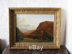 Superbe ancien tableau de montagne XIXe Savoie Grenoble Oisans Hautes Alpes Gap