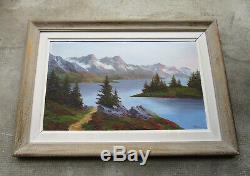 Superbe ancien tableau lac de montagne signé Walford Savoie Suisse Chamonix Gap