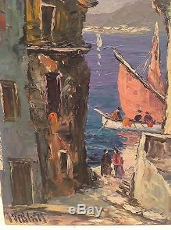 Superbe tableau ancien Henri Milloch (1898 1979) Huile Marine animée thonier