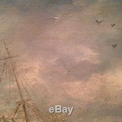 Superbe tableau ancien Marine Musée Sète Huile sur toile Paquebot tempête signé