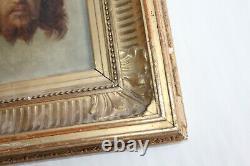 Superbe tableau ancien Portrait du Christ époque 19 ème siècle
