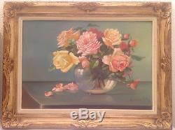 Superbe tableau ancien huile sur toile Bouquet de roses signé goût Fantin Latour