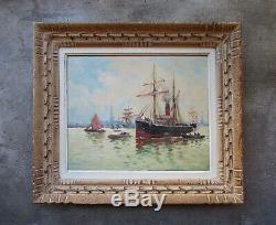 Superbe tableau ancien marine, port du Havre Dunkerque Bordeaux Rouen Quimper
