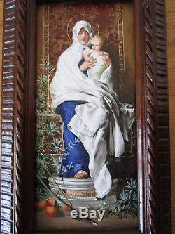 Superbe tableau ancien sur porcelaine Nicolo Barabino Vierge Marie Jésus Christ