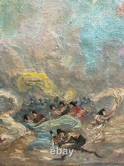 Symphonie Pastorale, Ecole Française Circa 1910 tableau ancien Danse spectacle