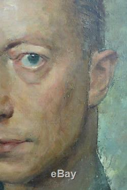 TABLEAU ANCIEN Beau PORTRAIT D'homme Expressionniste de Graeve Lille art deco