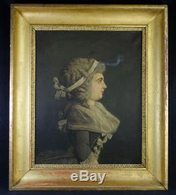 TABLEAU ANCIEN DéB XIXE PORTRAIT FEMME COIFFE COSTUME SIGNé DATé 1847