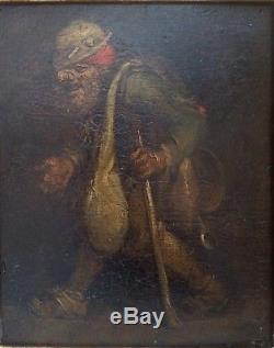 TABLEAU ANCIEN HOLLANDAIS XVIIème SIECLE-HUILE SUR PANNEAU LE MENDIANT