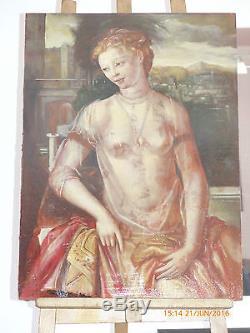 TABLEAU ANCIEN HSP 19/20 eme ECOLE FRANÇAISE PORTRAIT DE FEMME NUE