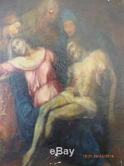 TABLEAU ANCIEN HST XIXeme ECOLE FRANÇAISEPIETA