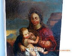 TABLEAU ANCIEN HST XVIII ECOLE FRANÇAISE VIERGE A L'ENFANT