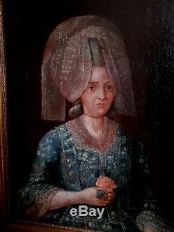 TABLEAU ANCIEN HUILE PORTRAIT FEMME ÉPOQUE XVIII ème (PÉRIODE LOUIS XVI)