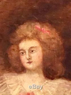 Tableau Ancien Huile Sur Toile Painting Femme Par Cosway Fin 18 Eme Siecle