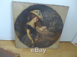 Tableau Ancien Milieu XIX Romantique Femmes Et Biches Hst