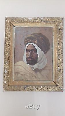 Tableau Ancien Orientaliste Peinture A L'huile Sur Panneau Signe