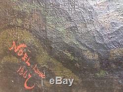 TABLEAU ANCIEN-PAYSAGE NOEL LOUIS 1867-100x65 Cm-HUILE SUR TOILE