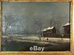 Tableau Ancien / Peinture Huile Sur Toile Paysage De Neige Signé Jonas