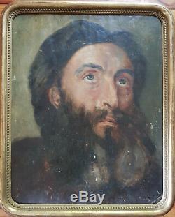 TABLEAU ANCIEN PORTRAIT D'HOMME BARBU XIXe