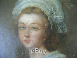 TABLEAU, ANCIEN, PORTRAIT, jeune fille, XIXeme