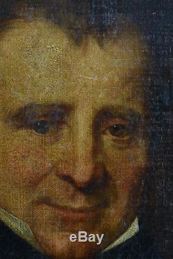 TABLEAU ANCIEN PORTRAITd'homme Romantique signé A. Marquet hst cadre Lyon