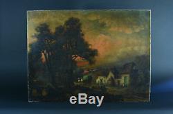 TABLEAU ANCIEN Paysage Barbizon Animé Ciel au Crépuscule sv Georges Michel 19e