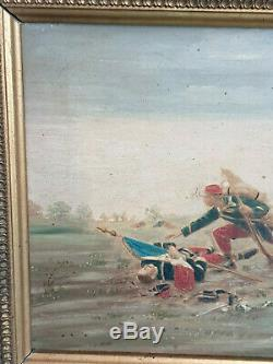 TABLEAU ANCIEN Scène de bataille / Huile sur panneau signée / Militaria 1870