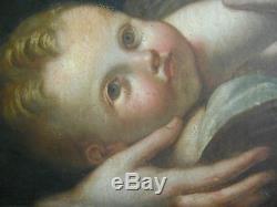 TABLEAU, ANCIEN, VIERGE A L ENFANT, MIGNARD, XVIIIeme. ANTIQUE OIL PAINTING