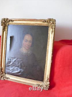 Tableau Ancien Xixeme Siecle Huile Sur Toile Portrait De Femme