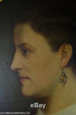 TABLEAU ANCIEN XIXE PORTRAIT FEMME SIGNé DATé 1867 BEAU CADRE OVALE BOIS DORé