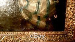 TABLEAU ANCIEN XVIIIème PORTRAIT FEMME HUILLE SUR TOILE