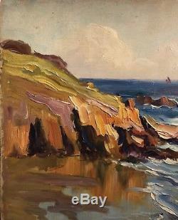 TABLEAU Ancien Huile 1900 CHARLES WISLIN Marine Bretagne Impressionniste CW2
