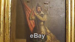 TABLEAU Ancien PEINTURE Huile sur Toile art XIXe Porte etendard drapeau soldat