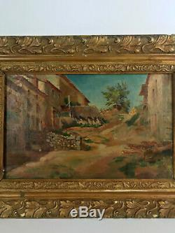 TABLEAU / HUILE SUR TOILE ANCIENNE ENCADRÉE (VILLAGE DU SUD) 57 cm x 42 cm