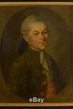 TABLEAU ancien 18ÈME LOUIS XVI PORTRAIT D'UN HOMME DE QUALITÉ COSTUME CRAVATE