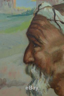 TABLEAU ancien ORIENTALISTE MAROC PORTRAIT HOMME KASBAH DIERA hst ETIENNE DINET