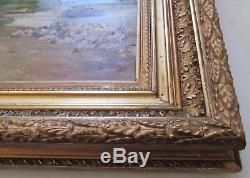 TABLEAU ancien signé Tessier 1888 XIXe Paysage BARBIZON HUILE/TOILE CADRE doré