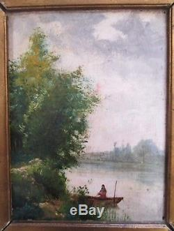 TABLEAU ancien signé fin XIXe Paysage BARBIZON HUILE/BOIS CADRE doré
