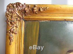 Tableau Ancien 1850 Environ-xix Siècle-jeune Fille-peinture A L'huile Sur Carton