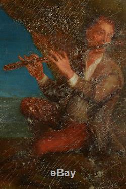 Tableau Ancien 18 ème portrait de musicien Homme à la Flûte Rembrandt Grimou