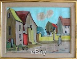 Tableau Ancien Amielle DEBUCHY 1889-1984 Morvan Scène de Village