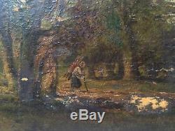 Tableau Ancien Barbizon Fagotière en sous bois Charles-Marie DULAC Huile signée