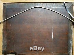 Tableau Ancien Barbizon lavandières huile sur panneau signature à identifier