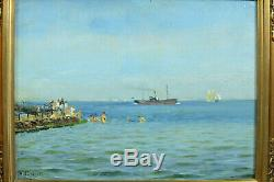 Tableau Ancien Bateau Port Danemark bateau Vapeur baignade Holger Lübbers 1913