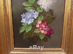 Tableau Ancien Bouquet de Fleurs PAUL DE LONGPRÉ Lyon Actif à Hollywood XIXe