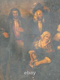 Tableau Ancien Bretagne XVIII / XIX / Huile Sur Toile Calvaire Quimper