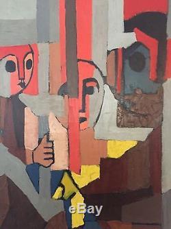 Tableau Ancien Cubiste École De Paris Circa 1950 Cubisme Musée Peinture Ancienne